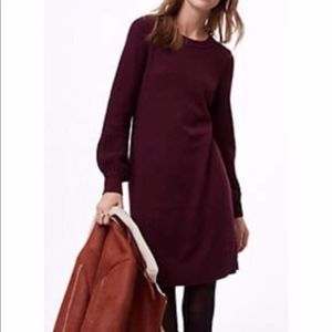 🆕 Loft Balloon Sleeve Burgundy Sweater Dress/L